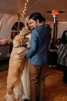 Bride + groom + dog wedding photo idea - newlyweds celebrate with their golden retriever {Apaige Photography}