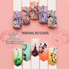 3d Nail Art, Swirl Nail Art, Painted Nail Art, Beach Nail Art, Beach Nails, New Nail Designs, Beautiful Nail Designs, Nail Art Arabesque, Monogram Nails