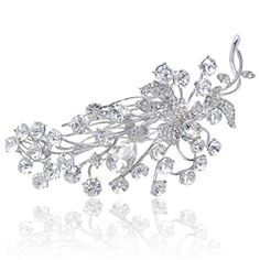 EVER FAITH Bridal SilverTone Flower Leaf Clear Austrian Crystal Hair Comb >>> For more information, visit image link.Note:It is affiliate link to Amazon. #yummy