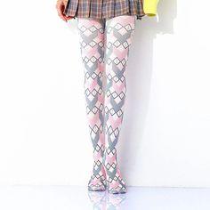 [leggycozy] Kawaii Colorful Geometric Diamond Lattice Print Pantyhose Stockings, Kawaii, Colorful, Diamond, Fashion, Moda, Kawaii Cute, Fashion Styles, Pantyhose Legs