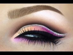 WITH AUDIO Bridal make-up cut crease with glitter liner / Pink peach purple colorful makeup tutorial - YouTube