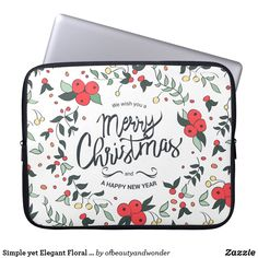 Simple yet Elegant Floral Christmas Laptop Sleeve - floral style flower flowers stylish diy personalize Happy New Year Design, Happy Year, Personalized Products, Customized Gifts, Christmas Themes, Christmas Fun, Custom Laptop, Best Laptops, Simple Gifts