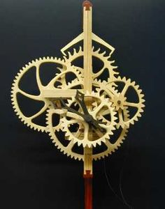 Wayne Westphale wooden movement clock Wooden Clock Plans, Wooden Gear Clock, Wooden Gears, Wood Clocks, Mechanical Clock, Wood Games, Clock Parts, Kinetic Art, Bike Art
