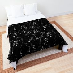 """Grey and Black Music Notes Pattern"" Comforter by HavenDesign 
