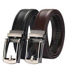 Amedeo Exclusive Mens Brown 100/% Leather Belt new technology Automatic belt means 1 size fits all