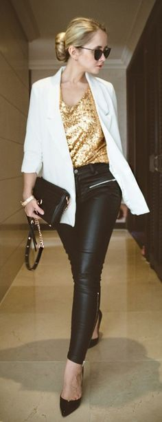 Discover this look wearing Mustard Sheinside Tops, White Chicwish Blazers, Black Rebecca Minkoff Bags tagged sexyinleather - Sequined by Myblondegal styled for Elegant, Dinner Party in the Winter Outfits With Grey Cardigan, Blazer Outfits Casual, Fall Outfits, Blazer En Cuir, Red Bomber Jacket, Sequin Blazer, Sequin Top, Mature Fashion, Celebrity Outfits
