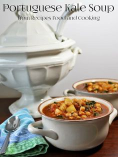 Portuguese Kale Soup is a spicy kale soup with garlic, onions, tomatoes, chorizo and chickpeas. #Sunday Supper - Recipes, Food and Cooking