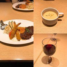 昨晩は近鉄百貨店上本町店でうえろくバルをやっていたのでそのバルメニューを注文 ステーキと海老フライのセットでライスとワイン付きで1600円でした
