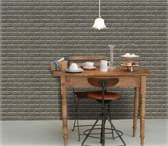 Luxury 3D Brick Wall Textured Foam Wallpaper, 71x78cm Large 5 Sheets Khaki Gray #INDESIGN