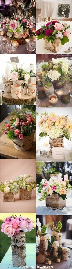 Rustric country wedding centerpieces with bark container / http://www.deerpearlflowers.com/rustic-wedding-centerpieces-with-bark-container/