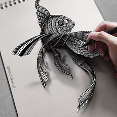 Logan named him Celty. The shadow that made him pop out of the paper is digit. Illusion Kunst, Illusion Art, Mandala Art, Zentangle Patterns, Zentangles, Fish Zentangle, 3d Drawings, Art Graphique, Op Art