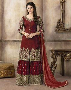 Maroon Embroidered Art Silk Designer Sharara Suit (Unstitched)