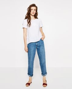 LACE TRIM LINEN BLOUSE-View All-TOPS-WOMAN   ZARA United Arab Emirates