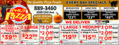 Phil's Pizza has big savings this month! Everyday specials, as well as special coupons for pizza wings and combo meals. Rochester, NY.