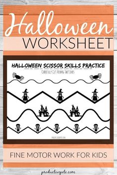 This free Halloween Scissor Practice Worksheet is a fun, printable activity for Preschool Classrooms or for fine motor work at home. Use it to increase your child's scissor skills & celebrate Halloween all at the same time! Halloween Worksheets, Halloween School Treats, Halloween Activities For Kids, Halloween Party Supplies, Toddler Learning Activities, Worksheets For Kids, Halloween Themes, Fun Learning, Preschool Activities