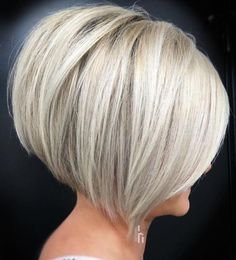 The Full Stack: 50 Hottest Stacked Haircuts - Short HairShort Inverted Silver Blonde Bob Short Stacked Bob Haircuts, Inverted Bob Hairstyles, Bob Haircuts For Women, Short Hair Cuts, Straight Hairstyles, Short Hair Styles, Layered Haircuts, Pixie Haircuts, Medium Hairstyles