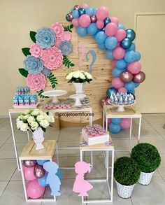 No photo description available. Girl Birthday Decorations, Gender Reveal Party Decorations, Girl Baby Shower Decorations, Baby Shower Themes, Pregnancy Gender Reveal, Baby Gender Reveal Party, Gender Party, Deco Baby Shower, Baby Shower Parties