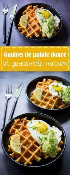 Gaufres de patate douce, guacamole maison et oeuf au plat - Recette de gaufres originales sur la Godiche / www.lagodiche.fr