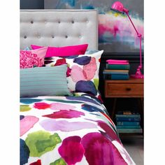 Bluebellgray Abstract bedding - Like a work of modern art, Abstract is a contemporary, unique and vibrant design. Organic watercolour marks and a unique colour palette between bright and just the right amount of neutrals make Abstract the ultimate style statement.