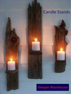Candle stands made from used railway sleeper wood.