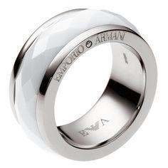 Emporio Armani Womens Ring Steel + Ceramic EGS1526040