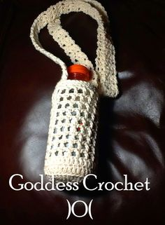 A free crochet pattern for a water bottle holder, includes symbol chart and video tutorial.