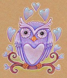 Purple Owl - 8x10 print