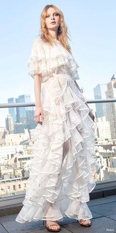 persy spring 2017 flutter sleeves jewel neck tiered aline lace wedding dress (alberta) mv ruffles romantic bohemian