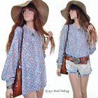 Vtg 70s ILGWU DAINTY Blue ROSE Floral ANTIQUE LACE Drapy Hippie Shirt Blouse Top