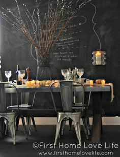 #diningroom #table #chairs #industrial #chalkboardPaint