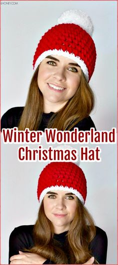A collection of Crochet #Christmas #Hat Gifts Free Patterns. Crochet Gifts for holidays with festive red, green and white, and a festive hat design.