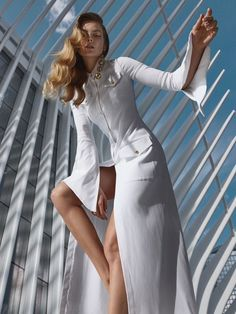 Eniko Mihalik is a vision of pure elegance on the September 2017 cover of ELLE Serbia. Photographed by Greg Swales, the blonde beauty wears a windowpane print shirt and grey skirt from Monse. In the accompanying spread, Eniko wears sophisticated styles from the fall collections. Stylist Arnold Milfort dresses the Hungarian beauty in fashion from...[Read More]