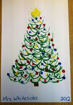 Cut a toilet paper roll in half and dip in paint for the green branches. Use child's fingerprints for the lights! I did this last year with kindergarten kids and they loved it! by valarie Christmas Trees For Kids, Christmas Arts And Crafts, Christmas Tree Painting, Preschool Christmas, Noel Christmas, Christmas Activities, Christmas Projects, Preschool Crafts, Holiday Crafts
