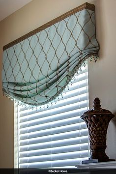 Relaxed roman shade stationary roman shade beaded trim diamond fabric embroidered fabric faux wood blinds