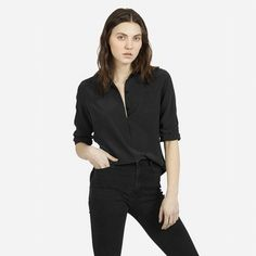 Women's Silk Point Collar LS - Black - Everlane