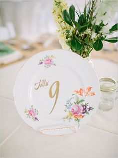 Vintage plate table number idea