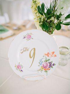 Vintage plate table number idea