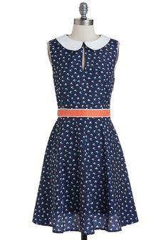 Thrill of the Flight Dress. Youve got quite the eye for cute and captivating style, and this navy dress from Spanish brand Kling is proof! #blue #modcloth