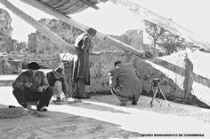 Trabalhos de restauro no mosaico da sala da caçada, 1953