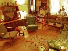 Whimsical World of Laura Bird: Time Warp- Retro Décor 1970s Living Room, Retro Living Rooms, Mid Century Living Room, Living Room Decor, Dining Rooms, Modern Living, Retro Interior Design, Mid-century Interior, 1960s Interior