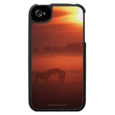 Two horses at sunset iPhone 4 cover
