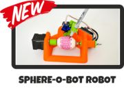 The Sphere-O-Bot is a simple 2 axis drawing machine that can draw on most spherical surfaces. You can use it to decorate balls or eggs.