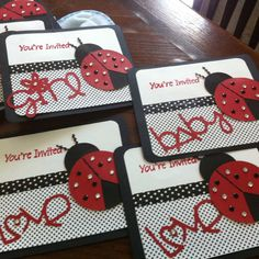 invitations i made for my ladybug theme baby shower