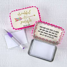 """- 'Thankful and Grateful' Prayer Box; Includes Tin box, owl motif paper and pen - Inspirational message: """"When your head starts to worry, and your mind just can't get rest, put your prayers down on pa"""