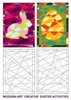 'Modern art' Easter colouring templates