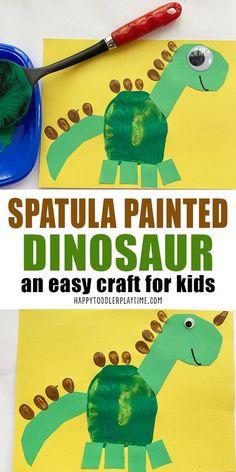 Adorable Spatula Painted Dinosaur Craft - HAPPY TODDLER PLAYTIME Toddler Preschool, Toddler Crafts, Preschool Activities, Preschool Dinosaur Crafts, Dinosaur Activities, Animal Crafts For Kids, Crafts For Kids To Make, Kids Crafts, Finger Tattoos