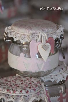 : Un battesimo speciale Mason Jars, Decorative Boxes, Shabby Chic, Diy, San Valentino, Home Decor, Pots, Favors, Kitchen
