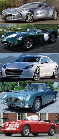 Five awesome Aston Martins: From the top the One-77, the DBR1, Rapide, DB5 and DB2.
