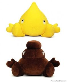 Plush Pee and Poo Duo    You've got to have a sense of humor about bodily functions when you have kids, but plushies in the shape of doo-doo? ~ Really!!! Really???