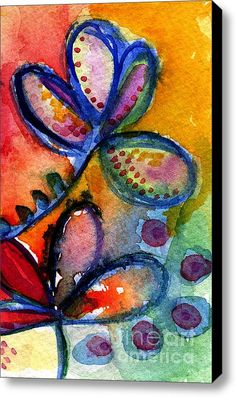 Bright Abstract Flowers Stretched Canvas Print / Canvas Art By Linda Woods